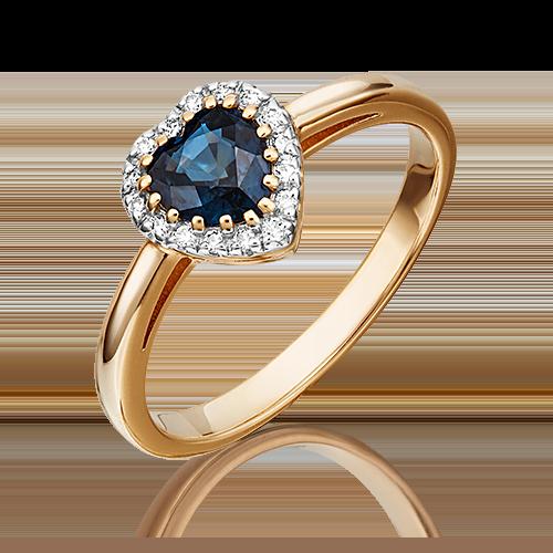 Кольцо из красного золота с сапфиром и бриллиантом 01-1512-00-105-1110-30