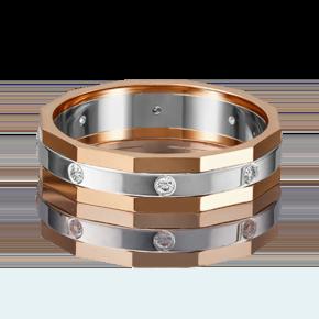 Обручальное кольцо из комбинированного золота с бриллиантом 01-5218-00-101-1111-30