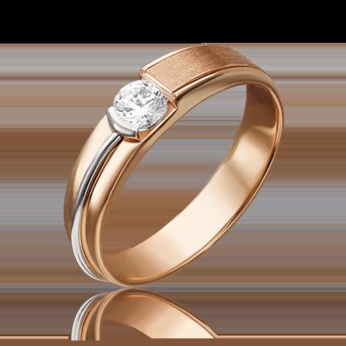 Помолвочное кольцо из красного золота бриллиантом 01-5244-00-101-1110-30
