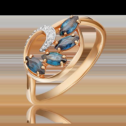 Кольцо из красного золота с сапфиром и бриллиантом 01-1449-00-105-1110-30