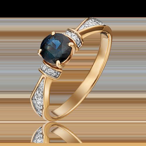 Кольцо из красного золота с сапфиром и бриллиантом 01-1451-00-105-1110-30