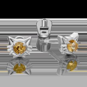 Серьги-пусеты из серебра с цитрином 02-4613-00-206-0200-68