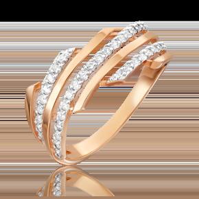 Кольцо из красного золота с бриллиантом 01-3874-00-101-1110-30