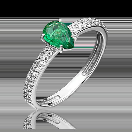 Кольцо из белого золота с изумрудом и бриллиантом 01-0334-00-106-1120-30