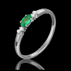 Кольцо из белого золота с изумрудом и бриллиантом 01-0778-00-106-1120-30
