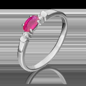 Кольцо из белого золота с рубином и бриллиантом 01-0778-00-107-1120-30