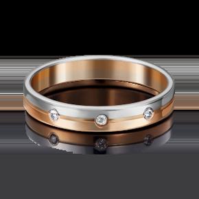 Обручальное кольцо из комбинированного золота с фианитом 01-3507-00-401-1111-21