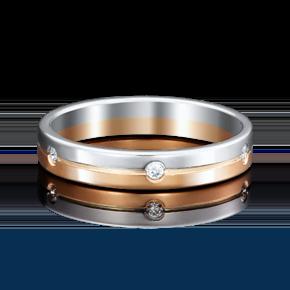 Обручальное кольцо из комбинированного золота с фианитом 01-3508-00-401-1111-21