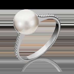 Кольцо из белого золота с жемчугом культивированным и фианитом 01-5336-00-302-1120-31