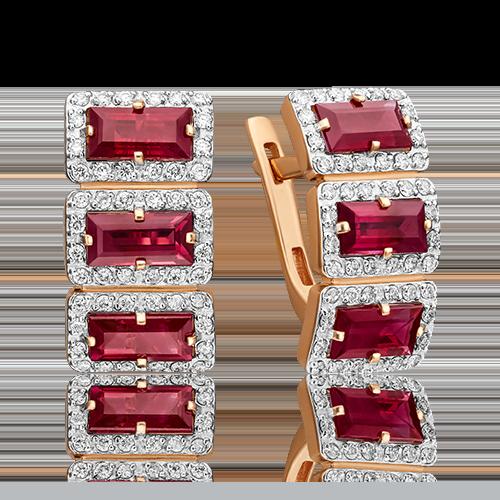 Серьги с английским замком из красного золота с рубином и бриллиантом 02-0451-00-107-1110-30