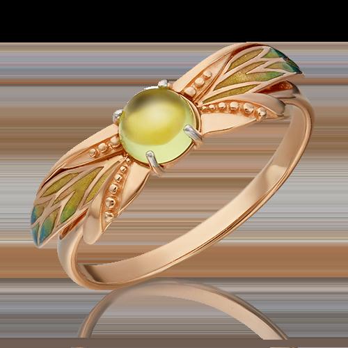 Кольцо из красного золота с хризолитом и эмалью 01-5455-00-205-1110-57