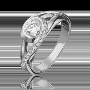 Кольцо из белого золота с фианитом огр.SW 01-5420-00-501-1120-38