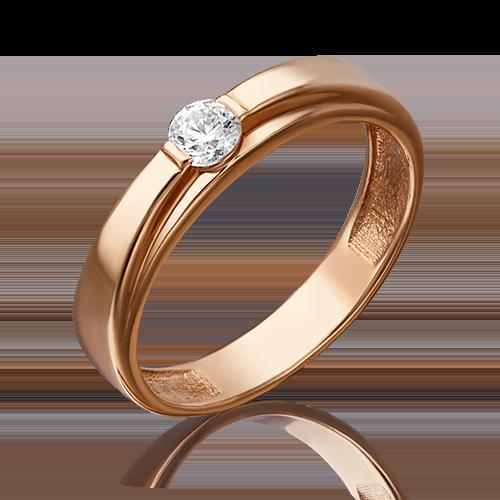 Помолвочное кольцо из красного золота с фианитом огр.SW 01-4743-00-501-1110-38