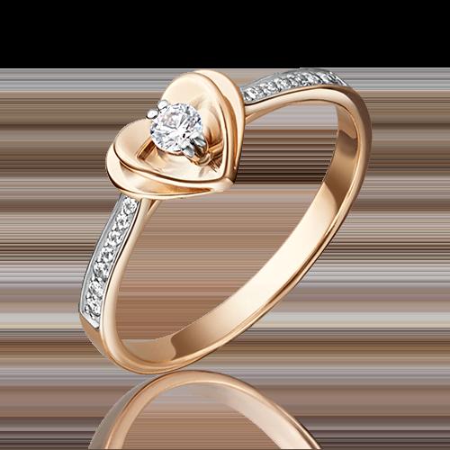 Помолвочное кольцо из комбинированного золота с фианитом огр.SW 01-4745-00-501-1111-38