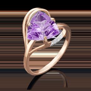 Кольцо из красного золота с аметистом и фианитом 01-4778-00-209-1110-46