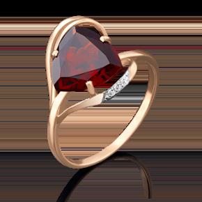 Кольцо из красного золота с гранатом и фианитом 01-4778-00-210-1110-46