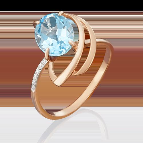 Кольцо из красного золота с топазом и фианитом 01-4779-00-207-1110-46