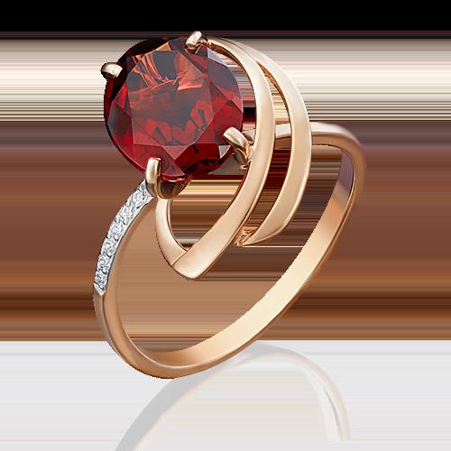 Кольцо из красного золота с гранатом и фианитом 01-4779-00-210-1110-46