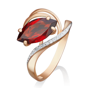 Кольцо из красного золота с гранатом и фианитом 01-4780-00-210-1110-46