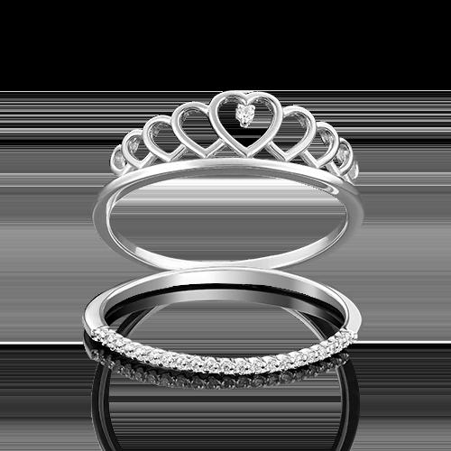Кольцо из белого золота фианитом 01-4774-00-401-1120-23