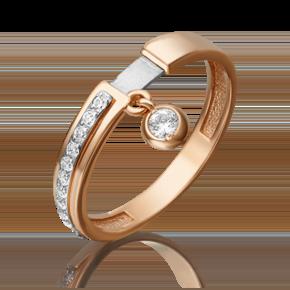 Кольцо из комбинированного золота с фианитом 01-5285-00-401-1111-48