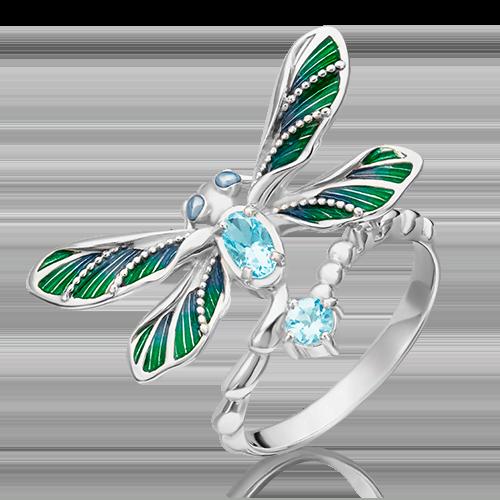 Кольцо из серебра с топазом и эмалью 01-5483-00-201-0200-68
