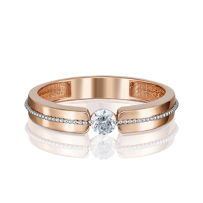Помолвочное кольцо из красного золота с бриллиантом 01-5120-00-101-1110-30