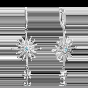 Серьги из серебра с топазом и топазом white 02-4751-00-201-0200-68