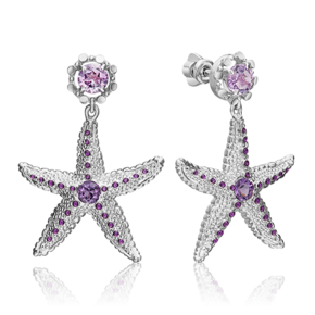 Серьги-пусеты из серебра с аметистом и эмалью 02-4757-00-203-0200-68