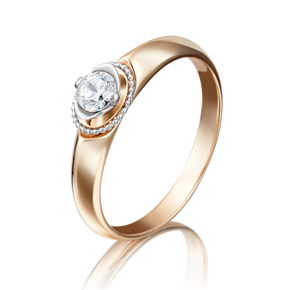 Кольцо из красного золота с бриллиантом 01-5132-00-101-1110-30