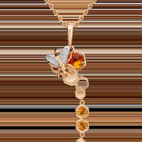 Подвеска из красного золота с янтарём, цитрином и топазом white 03-3212-00-734-1110-57