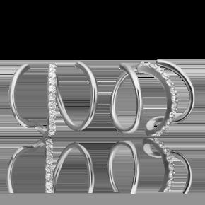 Серьги-продевки из белого золота с фианитом 02-4481-00-401-1120-23