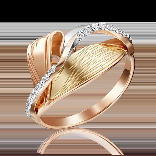 Кольцо из комбинированного золота с фианитом 01-5158-00-401-1113-48
