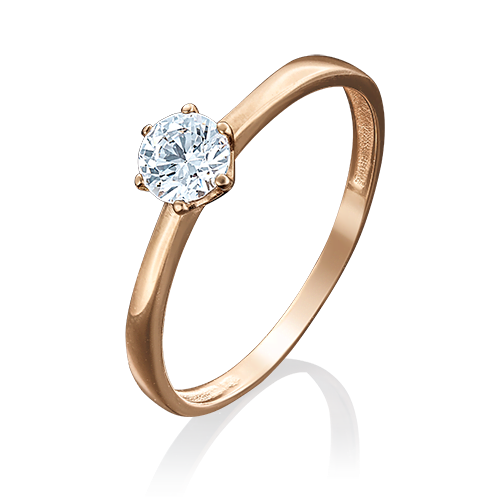Помолвочное кольцо из красного золота фианитом огр.SW 01-3058-00-501-1110-38
