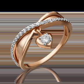 Кольцо из красного золота с фианитом 01-5276-00-401-1110-24