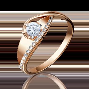Кольцо из красного золота с бриллиантом 01-5170-00-101-1110-30