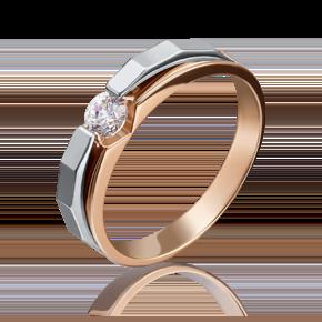 Помолвочное кольцо из комбинированного золота с бриллиантом 01-5121-00-101-1111-30