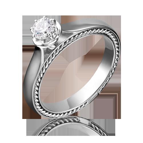 Помолвочное кольцо из белого золота фианитом огр.SW 01-5196-00-501-1120-38