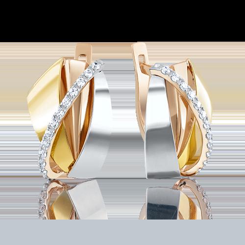 Серьги с английским замком из комбинированного золота с фианитом 02-4056-00-401-1140-23
