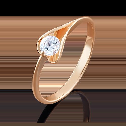 Кольцо из красного золота бриллиантом 01-4969-00-101-1110-30