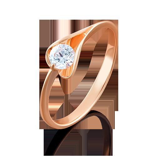 Кольцо из красного золота фианитом огр.SW 01-4969-00-501-1110-38