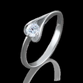 Кольцо из белого золота с фианитом огр.SW 01-4969-00-501-1120-38