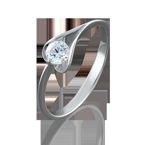 Кольцо из белого золота фианитом огр.SW 01-4969-00-501-1120-38