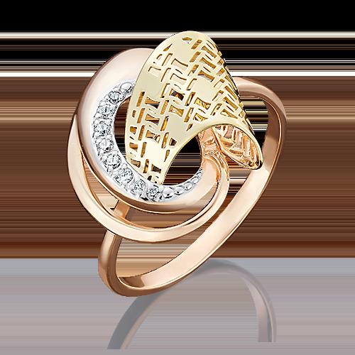 Кольцо из комбинированного золота с фианитом 01-4971-00-401-1113-48