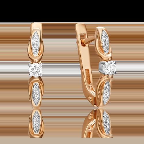 Серьги с английским замком из комбинированного золота с бриллиантом 02-3845-00-101-1111-30