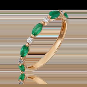 Кольцо из красного золота с изумрудом и бриллиантом 01-5534-00-106-1110-30
