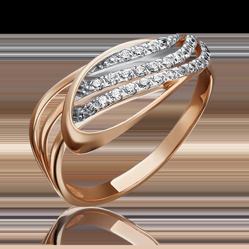 Кольцо из красного золота фианитом 01-3848-00-401-1110-23