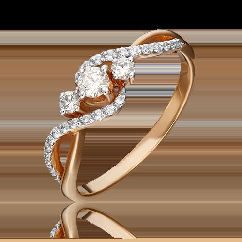 Кольцо из красного золота с бриллиантом 01-1499-00-101-1110-30