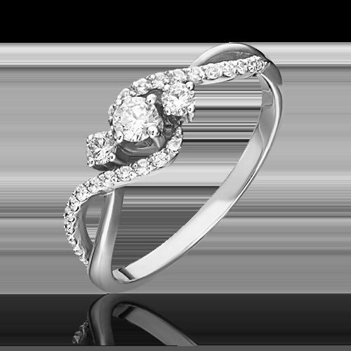 Кольцо из белого золота с бриллиантом 01-1499-00-101-1120-30