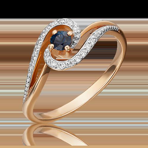 Кольцо из красного золота с сапфиром и бриллиантом 01-1500-00-105-1110-30